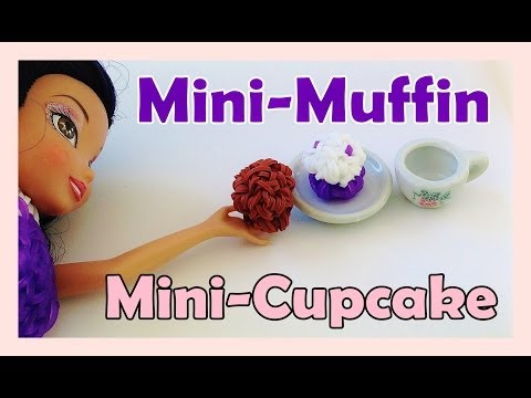 Barbie Rainbow Loom Charms Mini Muffin / Cupcake - How to Make (crazy loom bands, fun loom)