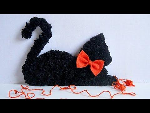 How To Make Your Own Pom Pom Black Cat Home Decor - DIY Crafts Tutorial - Guidecentral