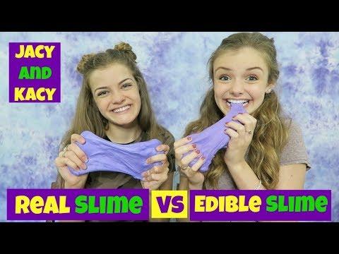Real Slime vs Edible Slime Challenge ~ Jacy and Kacy