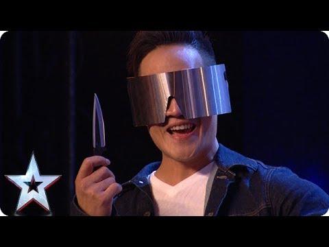DANGER ALERT: Blindfolded magician THROWS A KNIFE at Dec! | Auditions | BGT 2018