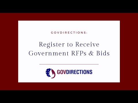Register to Receive Government RFPs and Bids