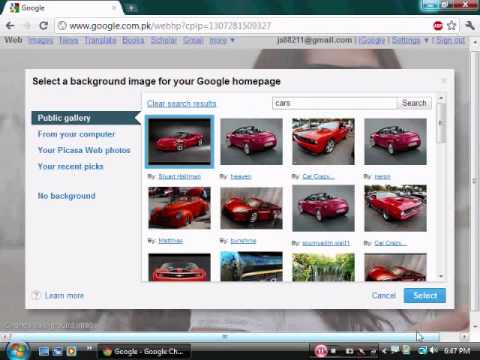 how to change Google Chrome background.