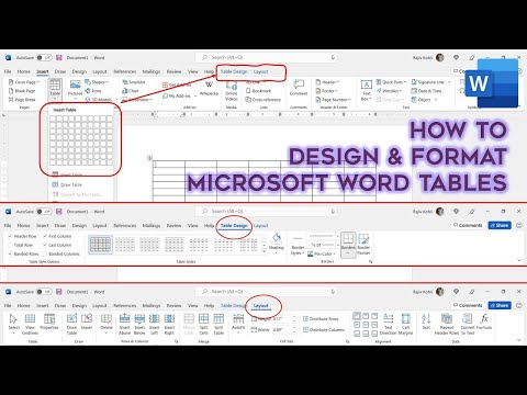 How To Design and Format Tables in Microsoft Word 2016 Tutorial | The Teacher
