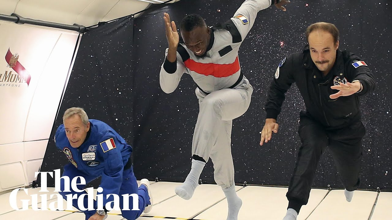 Usain Bolt floats to victory in zero-gravity race
