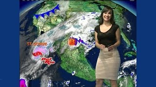 Gaby Luna blusa transparente 14 de Octubre 2013 Chica del Clima Televisa Juárez