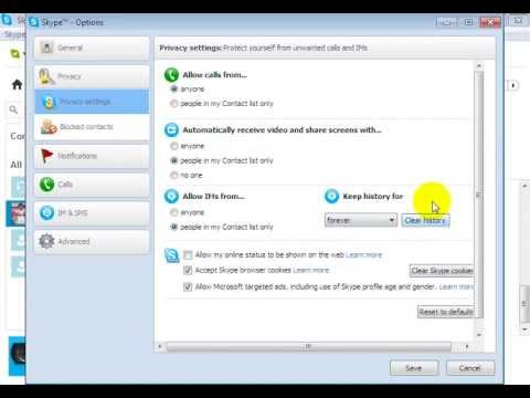 how to delete chat history from skype