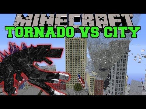 MOBZILLA & TORNADO MOD VS NEW YORK CITY - Minecraft Mods Vs Maps (Bosses, Deadly Weather)