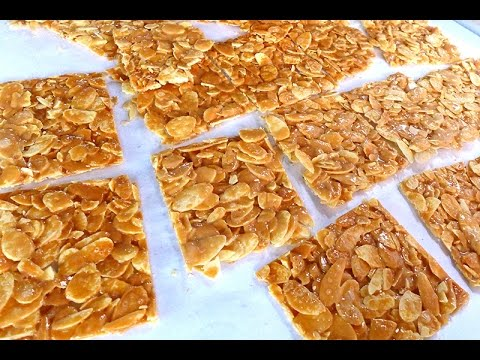 How To Bake Almond Flake Florentine Cookies 怎样烘杏仁麦芽片