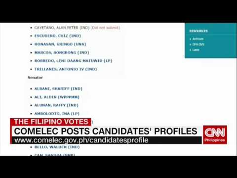 Comelec posts candidates' profiles