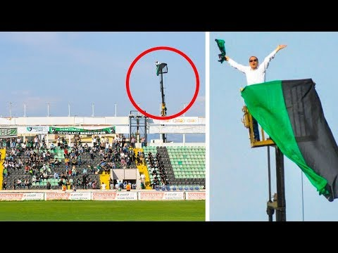 Crazy Football Fan got Banned from the team stadium. Look what he did to watch the game!