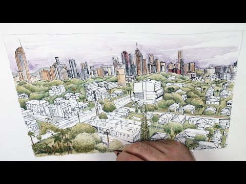 How to Create a Cityscape Drawing in Earth Tones