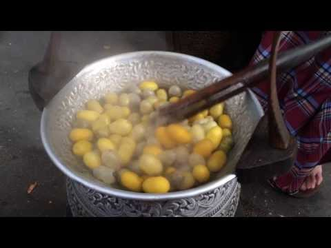 how to extract silk thread from silkworm demonstration at Jim Thompson House 2014
