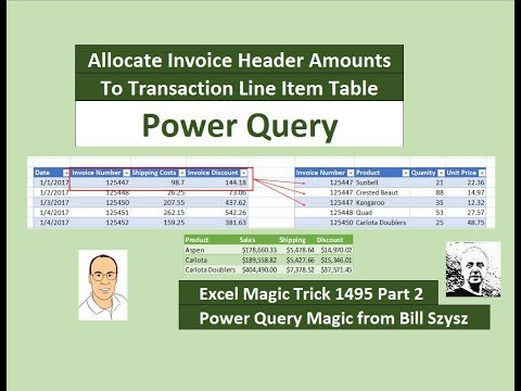 EMT 1495 Part 02: Power Query with Group By Rows: Allocate Invoice Amounts To Line Item Table