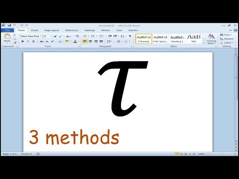 How to insert tau symbol in Microsoft Word