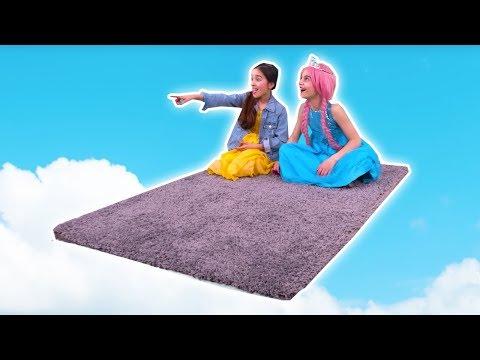MAGIC FLYING CARPET PRANK 🚀 Lilliana and Olivia Fly Away! - Princesses In Real Life   Kiddyzuzaa