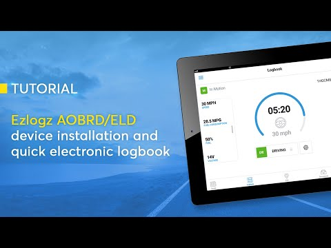 Ezlogz AOBRD/ELD device installation and quick electronic logbook tutorial