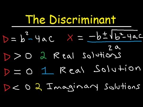 Discriminant Equation - Quadratic Formula - Real & Imaginary Solutions - Algebra