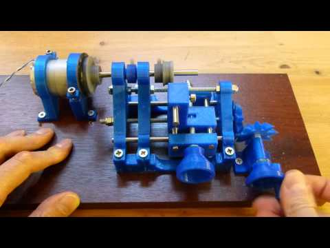 3D Printed lathe in operation