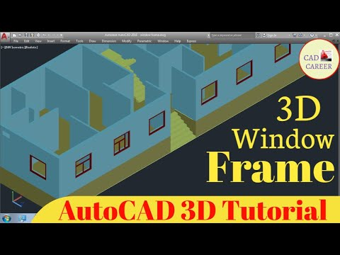 Window Frame in Autocad 3D || how to create window frame in Autocad 3D || window frame || CAD CAREER