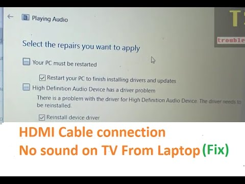 No sound on TV in HDMI cable connection from HP laptop to Sony BraviaTV - SOLUTION
