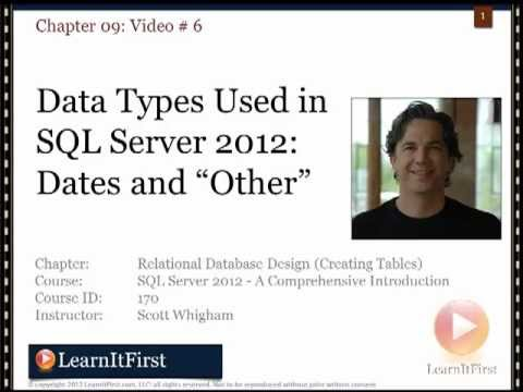 Data Types Used in SQL Server 2012: Dates and