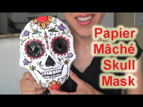 ASMR: Day of the Dead Papier Mâché Skull Mask | Sugar Skull Mask | Día de muertos