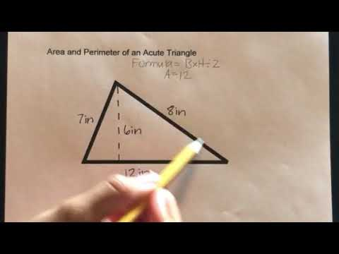 How to find the Area and Perimeter of an Acute Triangle