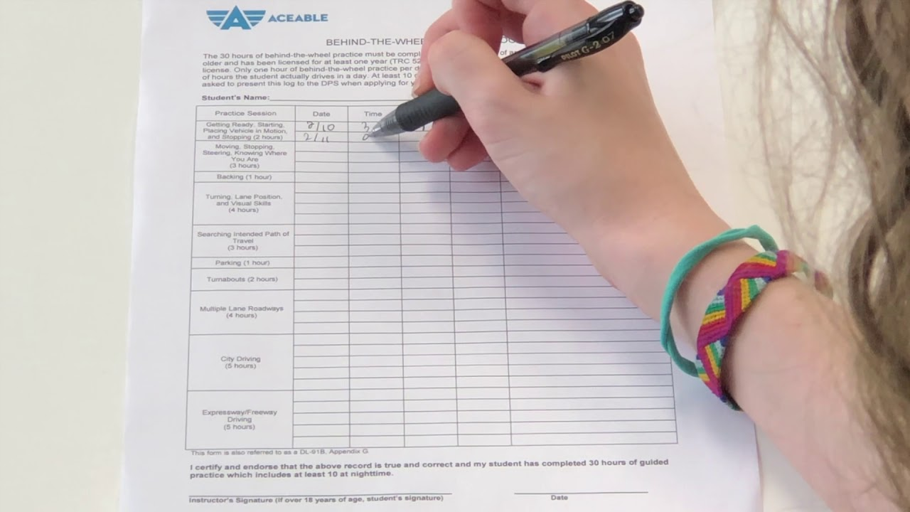 How to Fill Out Your Aceable Behind-the-Wheel Logs