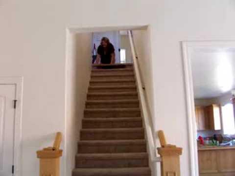 slide down stairs on cardboard