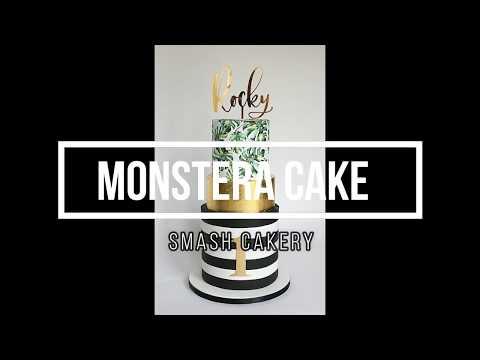 Modern Monstera Tropical Leaves Cake