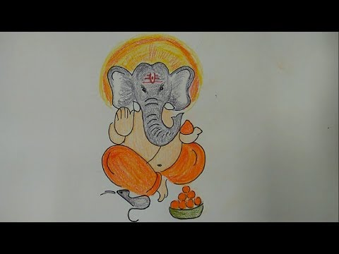 How to draw Lord Ganesha step by step very easily for kids - Hindu God