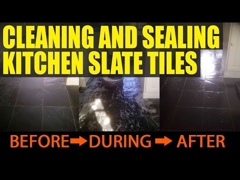 Cleaning and Sealing Kitchen Slate Tiles in Corby
