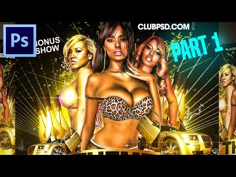 How to make Flyers on Adobe Photoshop Tutorial CC CS6 PSD for Party Event Club Graphic Designs 01