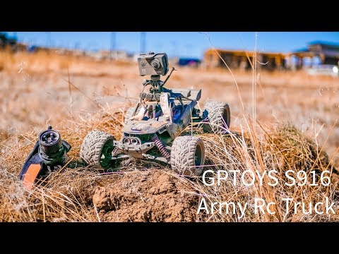 GPTOYS S916 Monster RC Army Truck 26Mph Remote Control Truck 2WD 1/12 Scale