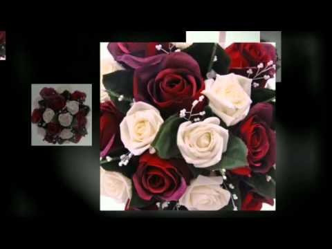 Bridal Bouquet with Ivory Foam & Burgundy Silk Roses Heather