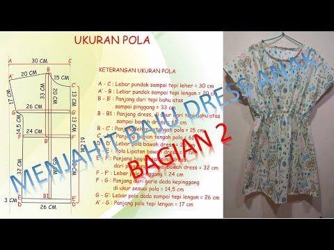 Belajar Cara membuat pola dan menjahit baju dress anak perempuan menggunakan mesin jahit portable Ba
