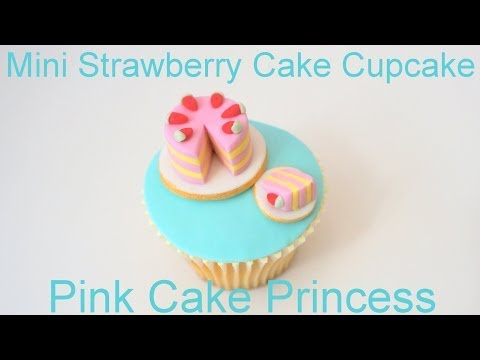 Mother's Day Mini Strawberry Layer Cake Cupcake - How to by Pink Cake Princess