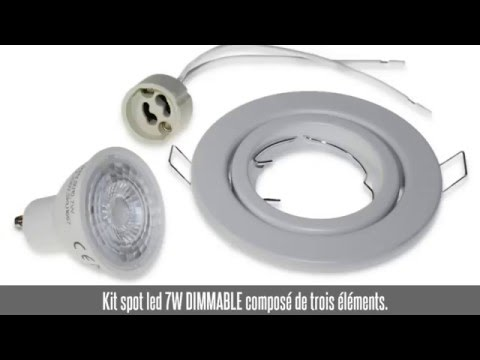 Kit spot led encastrable 7W, dimmable, blanc froid - douille GU10 - support blanc orientable