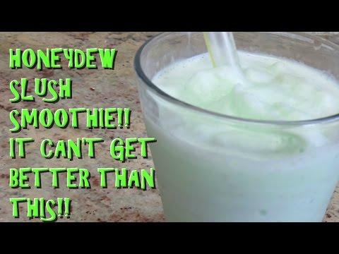 Honeydew slush smoothie with boba