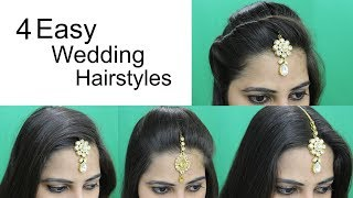 4 Easy Hairstyles for Wedding   Hairstyle with Maang Tikka for Medium or Long Hair