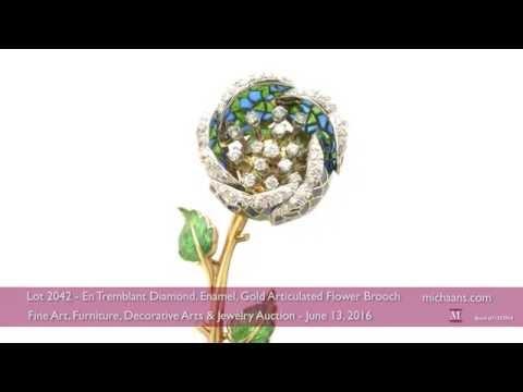 En Tremblant Diamond, Enamel, Gold Articulated Flower Brooch
