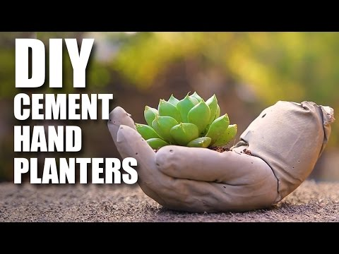 How to make DIY Cement Hand Planters