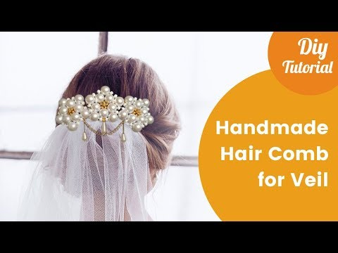 Handmade Hair Comb for Attaching Bridal Veil. DIY Craft Ideas for Wedding.