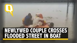 Bihar Rains Force Newly-Wed Couple to Take Their First Journey on a Makeshift Boat    The Quint