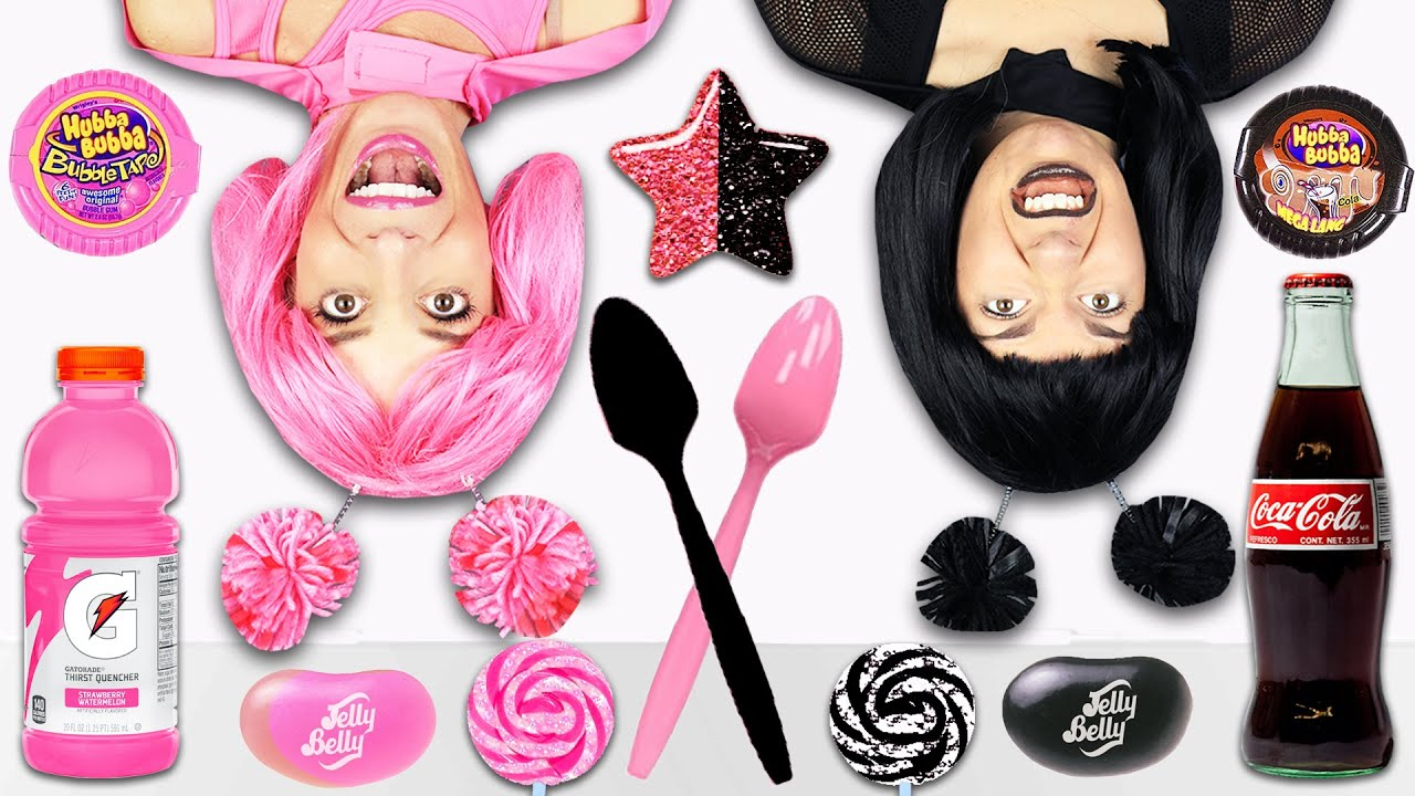 Pink Vs Black Food Challenge - Eating Only One Food for 24 Hours - Rebecca Maddie Challenges