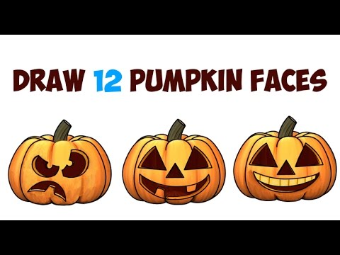 How to Draw Pumpkins & Pumpkin Faces & Jack O'Lantern Faces & Expressions for Kids on Halloween Easy