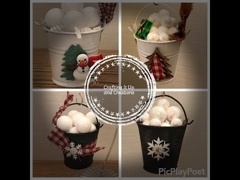 Day 6 12 Days of Christmas Series DIY Christmas Ornaments SNOW Buckets ❄️Shabby and Primitive