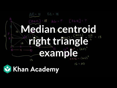 Median centroid right triangle example | Geometry | Khan Academy