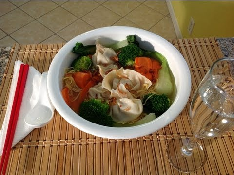 How To Make Wonton Soup Bok Choy Recipe-Chinese Pork Dumplings
