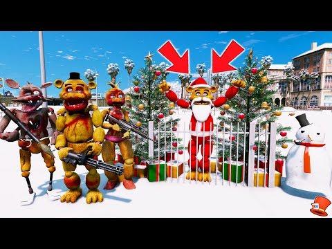 ZOMBIE ANIMATRONICS TAKE SANTA FREDDY! (GTA 5 Mods For Kids FNAF RedHatter)